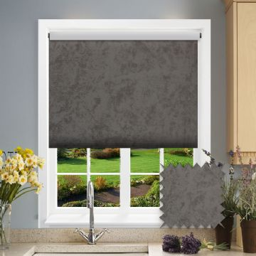 PVC Blackout Plain Earth Walnut Roller Blind